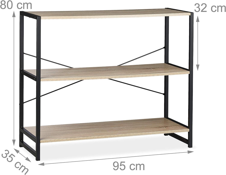 Transversal Relaxdays Estanter/ía de pie Tres estantes Metal Roble 80x95x5 cm Marr/ón y Negro Librer/ía Industrial