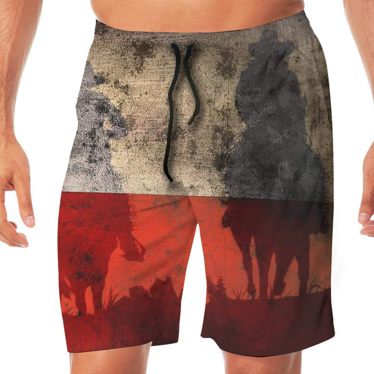 Quick Dry Mens Beach Shorts Horse Surfing Trunks Surf Board Pants Pockets