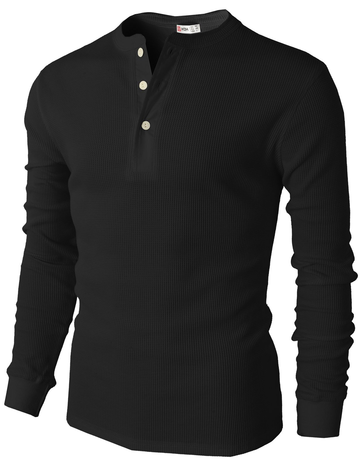 H2H Men's Casual Henley Shirt with Button Black US L/Asia XL (CMTTL045) by H2H