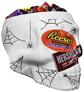 HERSHEY'S Halloween Chocolate Candy Variety Mix, Addams Family Foils in Skull Bowl, Halloween Decorations, (HERSHEY'S and REESE'S) 37 oz