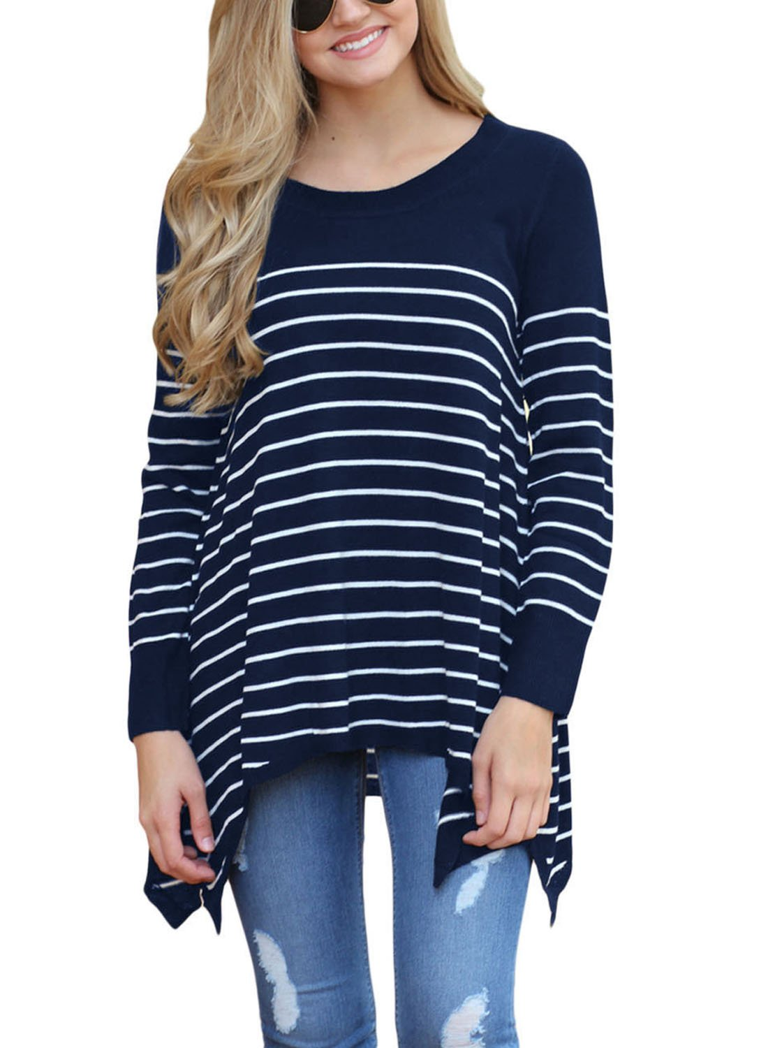 Sidefeel Women Round Neck Stripes Loose Knit Sweater Pullover Tops Medium Navy