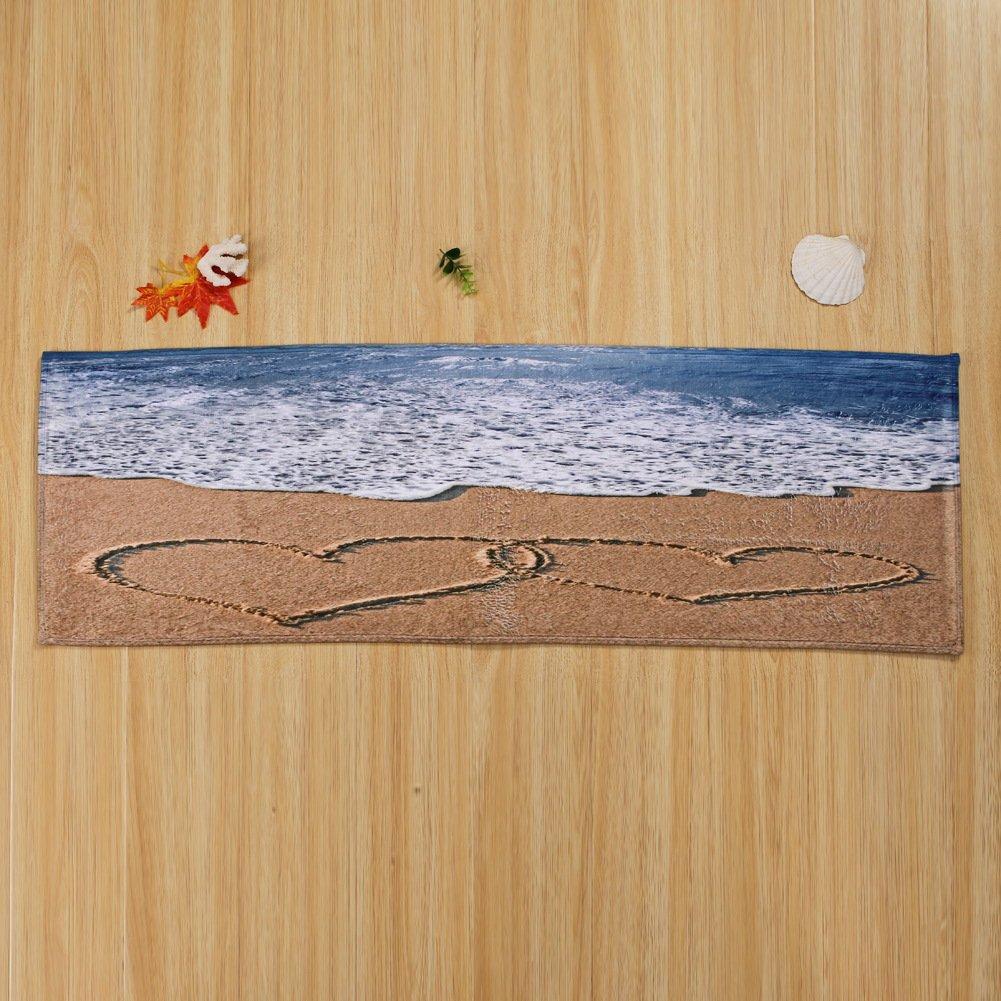 WSHINE 15.7''47.2'' Beach Wave Floor Runner Rug Kitchen Mats Indoor Outdoor Doormat Window Room Mat, Heart Love