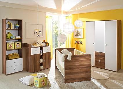 Chambre bébé wIKI set complet 2 en bois de noyer/blanc-babymöbel ...