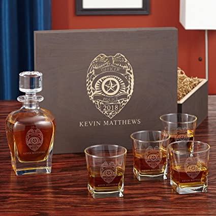 ba10a453355 Image Unavailable. Image not available for. Color  Police Badge Custom  Whiskey Glass and Decanter Set ...