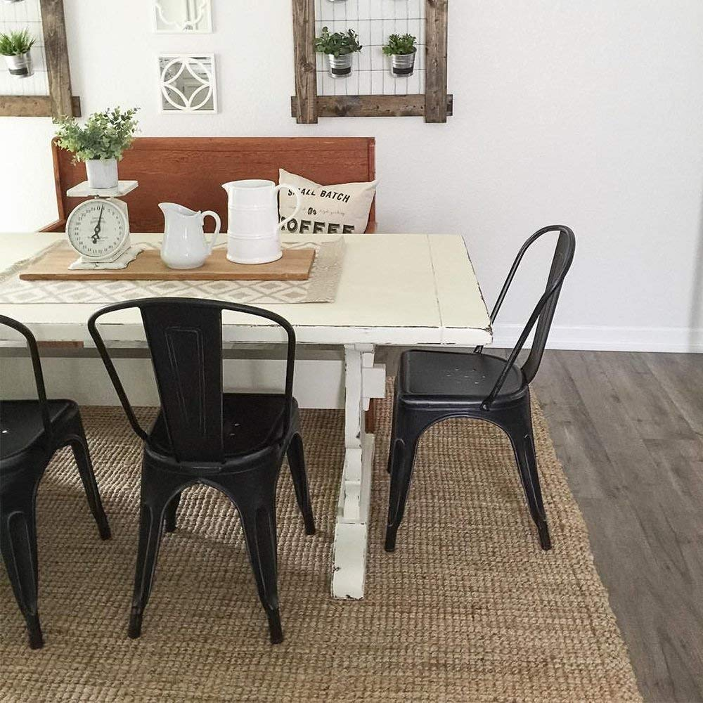 Set of 4 Waleaf Metal Dining Stackable Chairs Indoor//Outdoor Use Modern Style Restaurant Cafe Chic Bistro Bar Side Chair Black