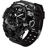 LYMFHCH Men's Analog Sports Watch, LED Military Digital Watch Electronic Stopwatch Large Dual Dial Time Outdoor Army Wrist Wa