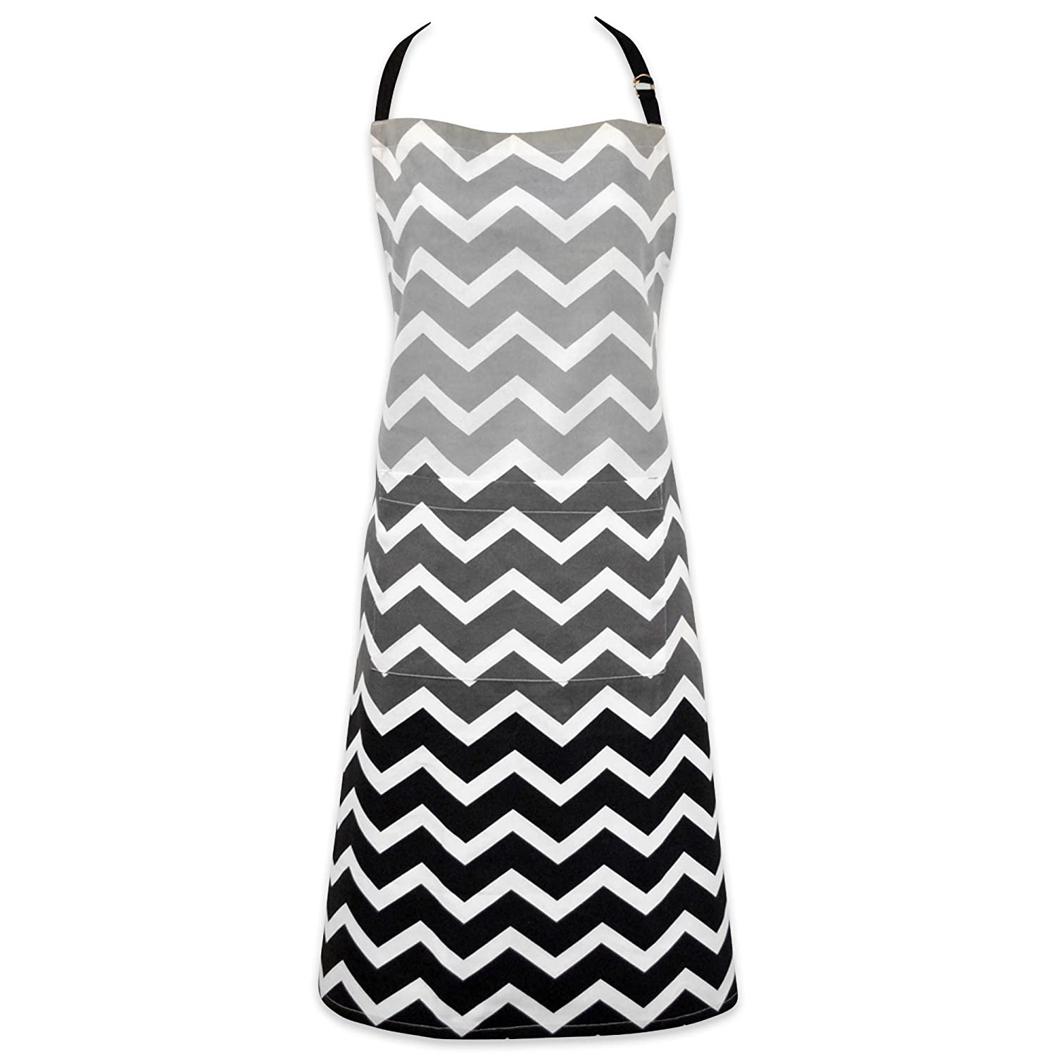DII 100% Cotton, Trendy Chevron Ombre Unisex Chef Kitchen Apron, Adjustable Neck & Waist Ties, Machine Washable, Front Pocket, Perfect for Cooking, Baking, BBQ-Black