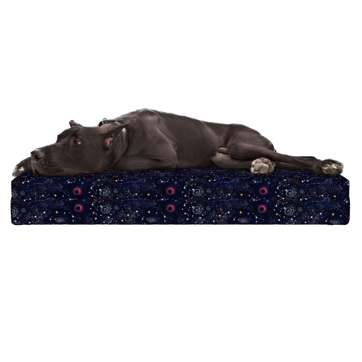 Lunarable Constellation Dog Bed, Star Clusters Galaxies and Planets Astrology Themed Abstract Illustration, Durable Washable Mat with Decorative Fabric Cover, 48'' x 32'' x 6'', Multicolor