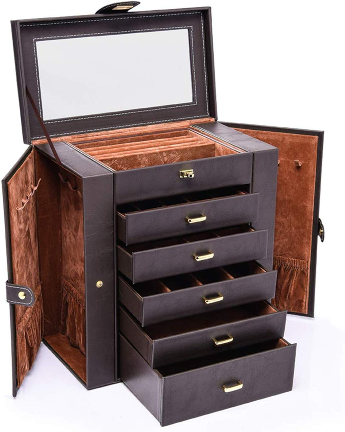 HEZALA Large Jewelry Organizer, 6 Layer Huge Leather Jewelry Box for Women with Mirror, Watch Necklace Ring Earring Bracelet Storage Case with Drawers, Brown by HEZALA