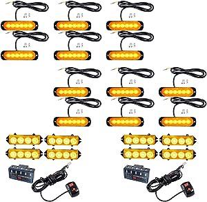 12PCS Ultra Slim 6-LED 18W Emergency Hazard Caution Surface Mount Strobe Light & 8pcs 4-LED Car Truck Grille Deck Dash Flashing Light Control Box- Amber