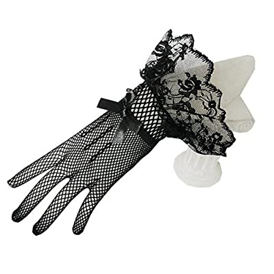TANGFUTI Full Finger Lace Short Wedding Gloves Wrist Bridal Gloves With Bow 126