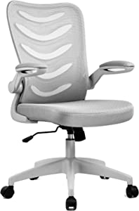 ComHoma Office Desk Chair Mesh Ergonomic Mid-Back Lumbar Support Computer Swivel Chairs with Flip-Up Armrests & Wheels for Conference Home Office (Grey)