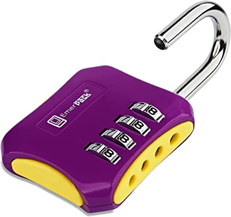 Black-Green Combination Padlock with 3 Digits//Long Shackle Keyless Code Lock for Gym or School Locker//Lightweight Combi in Different Colours Three Numbers