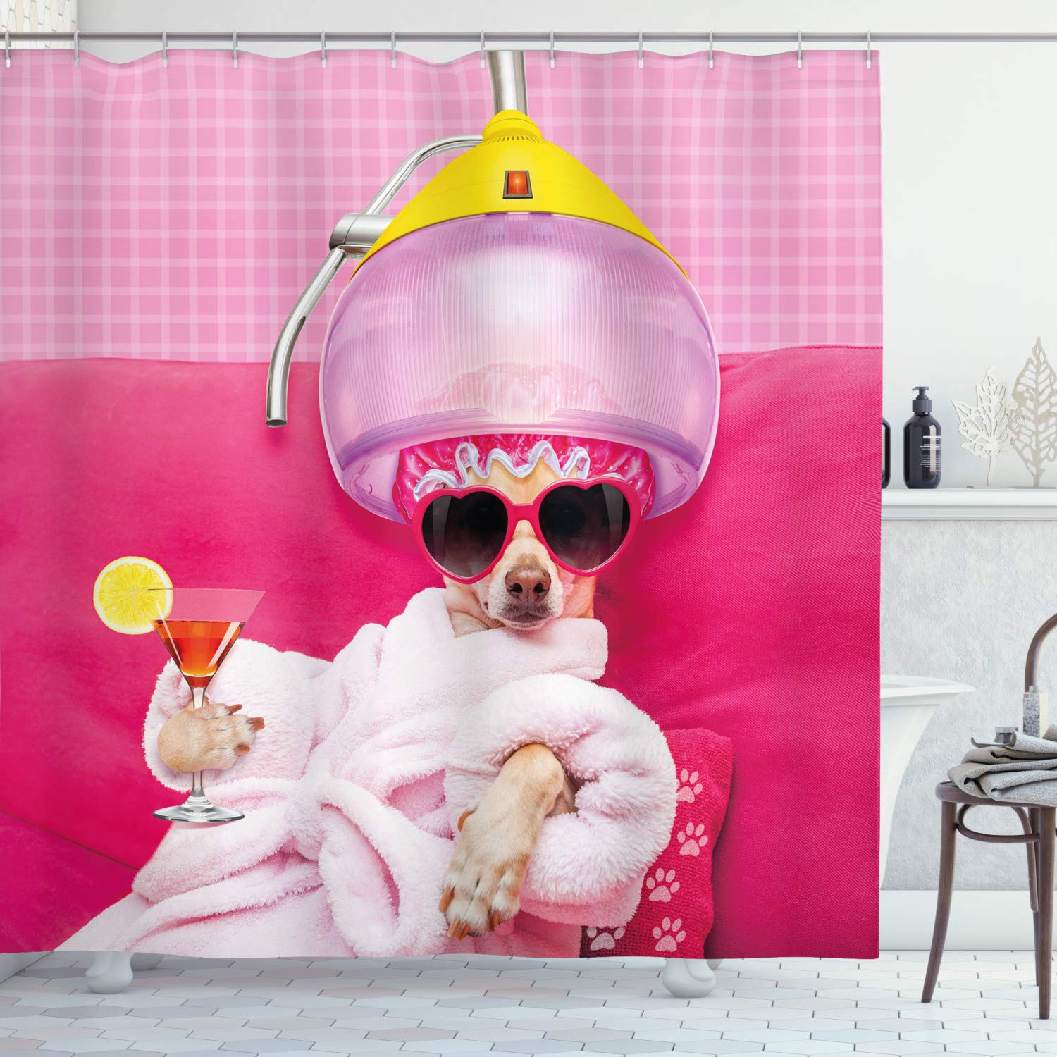 Fine Ambesonne Funny Shower Curtain By Chihuahua Dog Relaxing And Lying In Wellness Spa Fashion Puppy Comic Print Fabric Bathroom Decor Set With Hooks Ocoug Best Dining Table And Chair Ideas Images Ocougorg