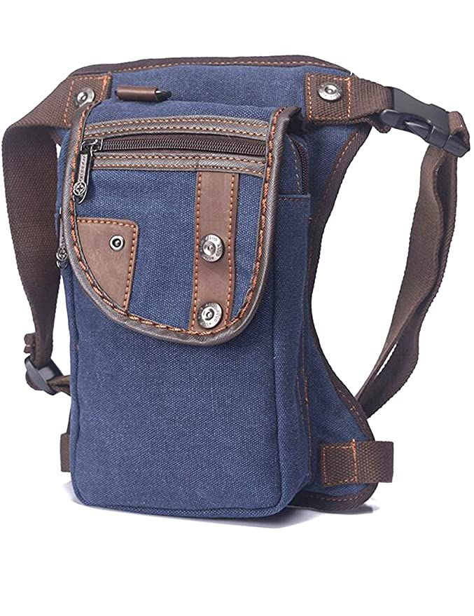 Amazon.com   NAOKI LOVE Vintage-style Multifunction Outdoor Sports Tactical  Canvas Dark Blue Waist Leg Bag   Sports   Outdoors 46815a6b8a7a4