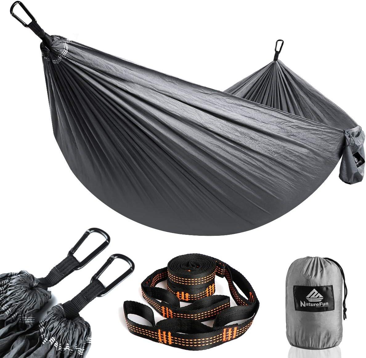 NATUREFUN Hamaca Ultraligera para Viaje y Camping | 300kg de Capacidad de Carga,Transpirable, Nylon de Paracaídas de Secado Rápido | 2 x Mosquetones Premium, 2 x Correas de Nylon Incluidas