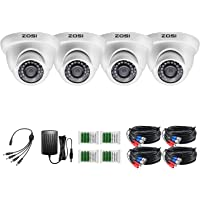 ZOSI 1080P 4 Pack CCTV Camera kit Outdoor Home with 24PCS Infrared Lens 80ft 24m Day Night Vision 2.0MP Surveillance…