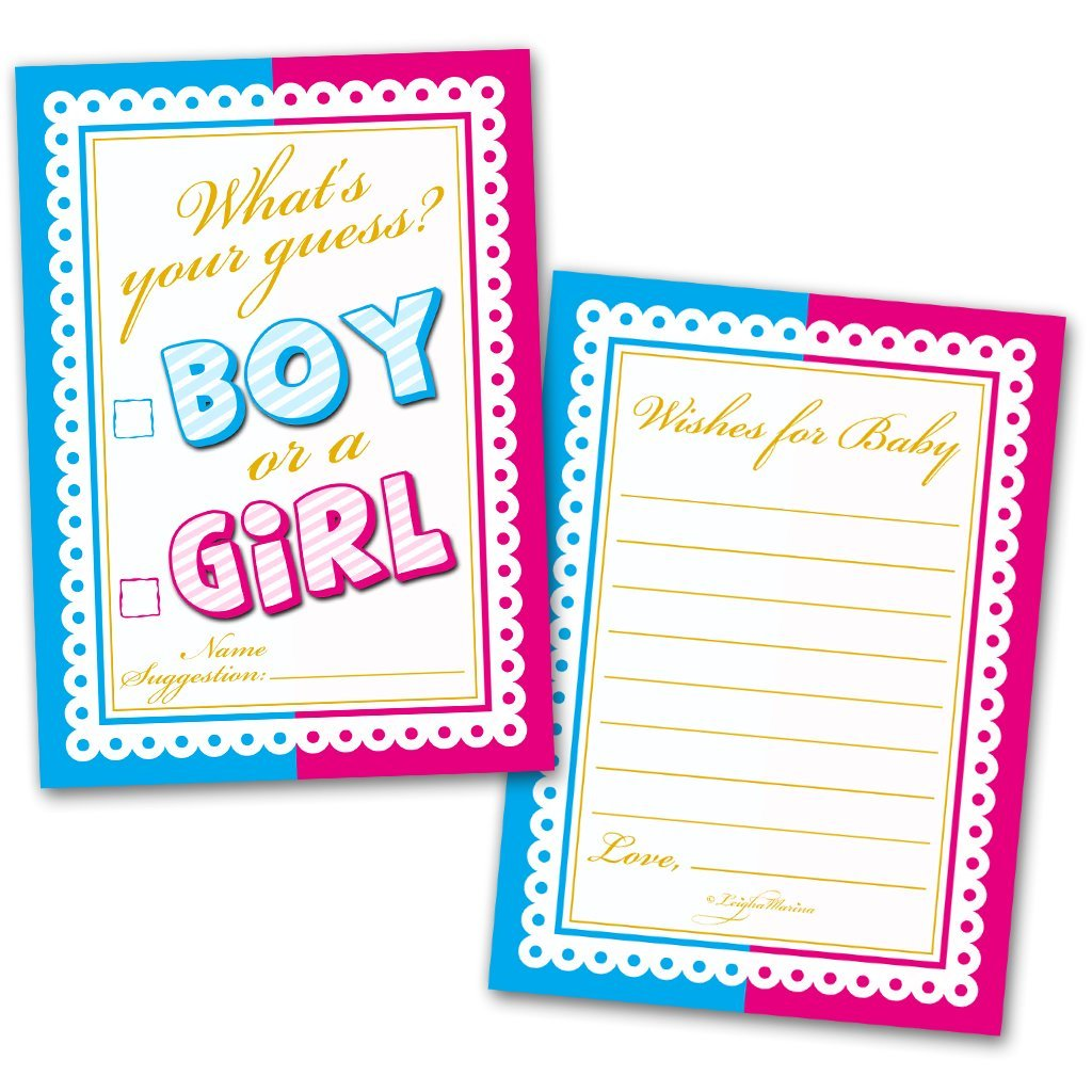 Amazon 40 Baby Shower Cards Whats Your Guess Boy Or A Girl