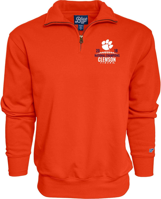 Blue 84 Clemson Tigers 2018-2019 Football National Champions Orange 1//4 Zip Pullover