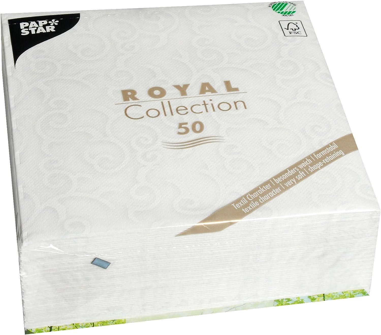 Papstar 50 Servietten Royal Collection 1 4 Falz 40 Cm X 40 Cm Weiss Casali 84876 Küche Haushalt