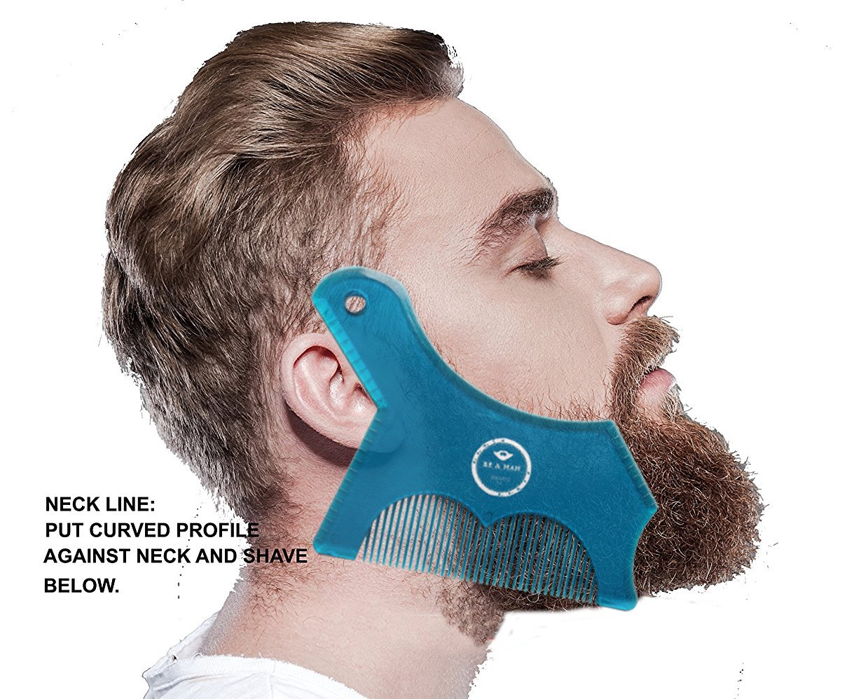 [2018 Upgrade Design] Beard Shaping Stencil With Built-In Comb & Styling Tool for Perfect Lines & Symmetry in Transparent Blue color Premium quality By UNM (Transparent Blue)