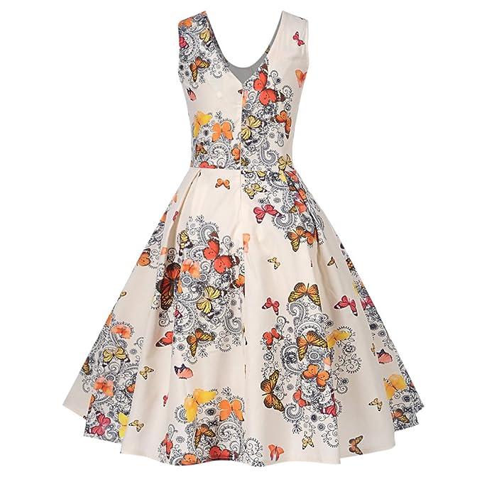YTJH Elegante Vestido Mujer Verano 2018 Estampado Mariposa Vestido Vintage 1950s Rockabilly sin Mangas Cuello Redondo