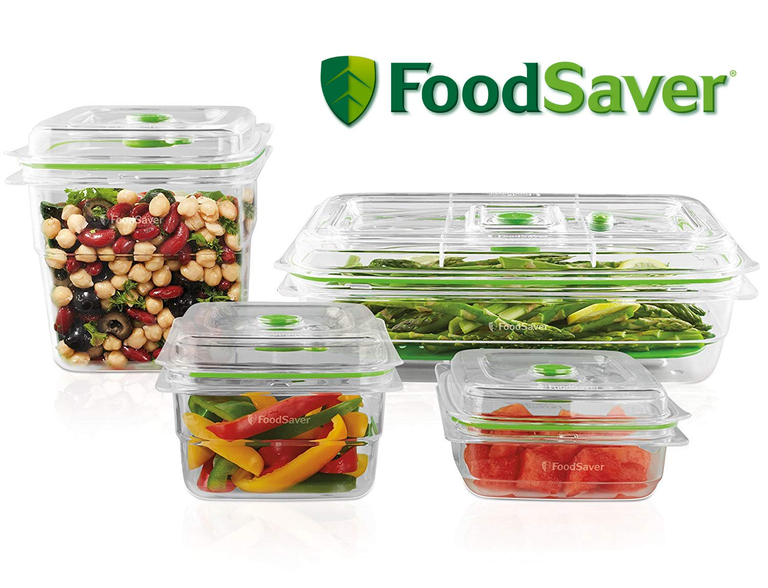 FoodSaver B01AJJ1WNA FA4SC35810-000 Fresh Vacuum Seal Food and Storage Containers, 4-Piece Set and 2 Produce Trays, Clear, Multi