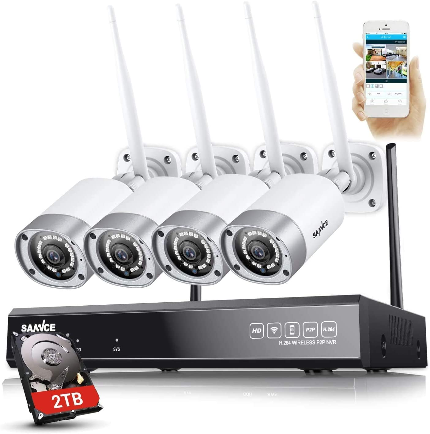 2TB Hard Drive Pre-Installed SANNCE Wireless Security Camera System,8-Channel FULL HD 1080P Home Video Security System,4pcs 2.0MP Indoor Outdoor WiFi IP Cameras,P2P,Night Vision,Remote View,Free APP