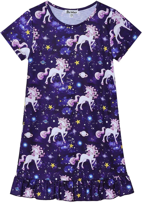 Jxstar Nightgowns for Girls Unicorn Mermaid Pajamas Short Sleeve Night Dresses