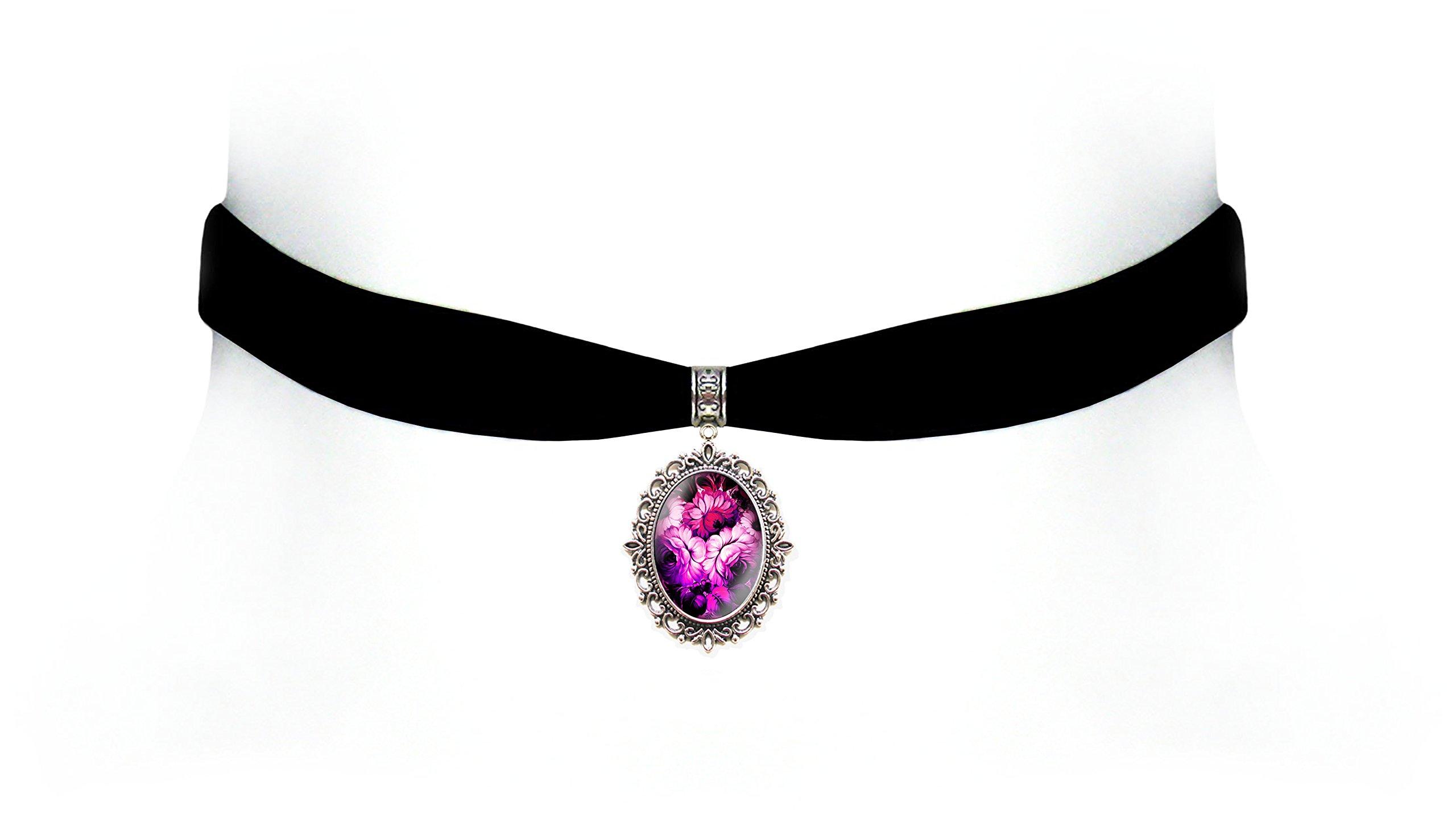Victorian Vault Black Velvet Flower Choker Steampunk Gothic Pendant Necklace (Fuschia)