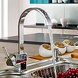 Auralum® 360 ° Giratorio Grifo de Cocina Latón Cromado Elegante Agua Caliente y Fría Alternativa