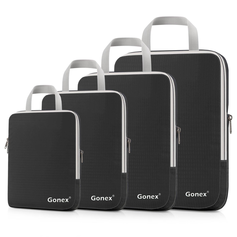 Gonex Compression Packing Cubes Set, Expandable Packing Organizers 4pcs(Black) by Gonex