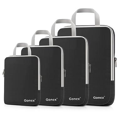 Gonex Compression Packing Cubes Set, Expandable Packing Organizers 4pcs(Black)