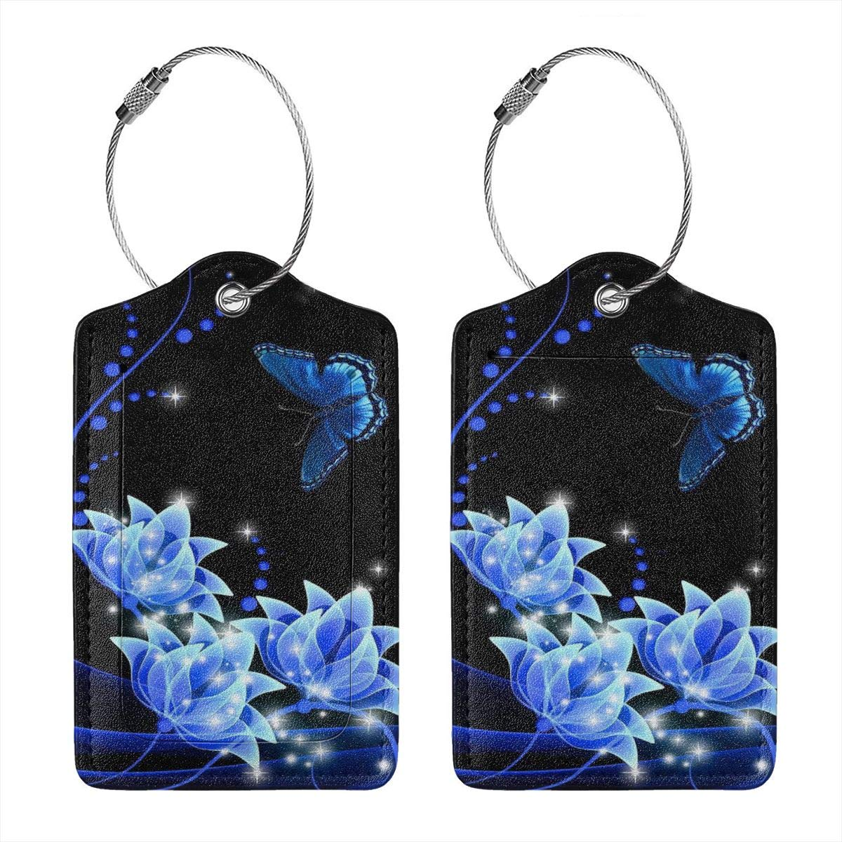 GoldK Blue Flowers Leather Luggage Tags Baggage Bag Instrument Tag Travel Labels Accessories with Privacy Cover