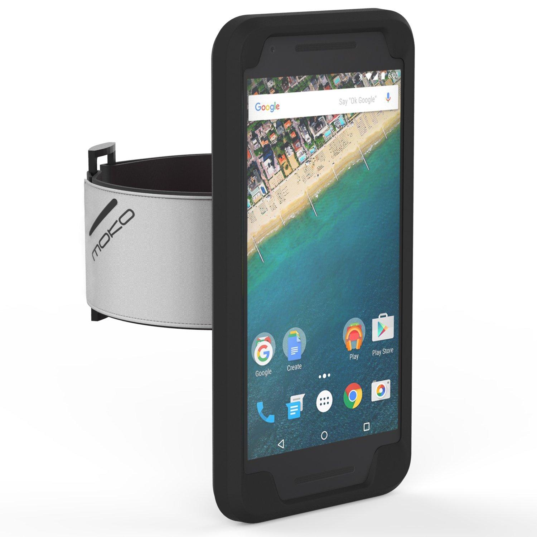 MoKo Nexus 5X Sportarmband - Silikon Handy Tasche Joggen Laufen Sport Armband Anti-Schweiß Hülle Schutzhülle Case + Schlüsselhalter für Nexus 5X von LG 5.2 Inch 2nd Gen Smartphone,Schwarz