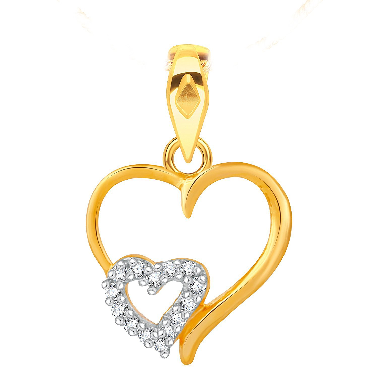 Suhana Jewellery Simulated Diamond Studded Love Promise Heart Pendant Necklace in 14K Yellow Gold Plated With Box Chain