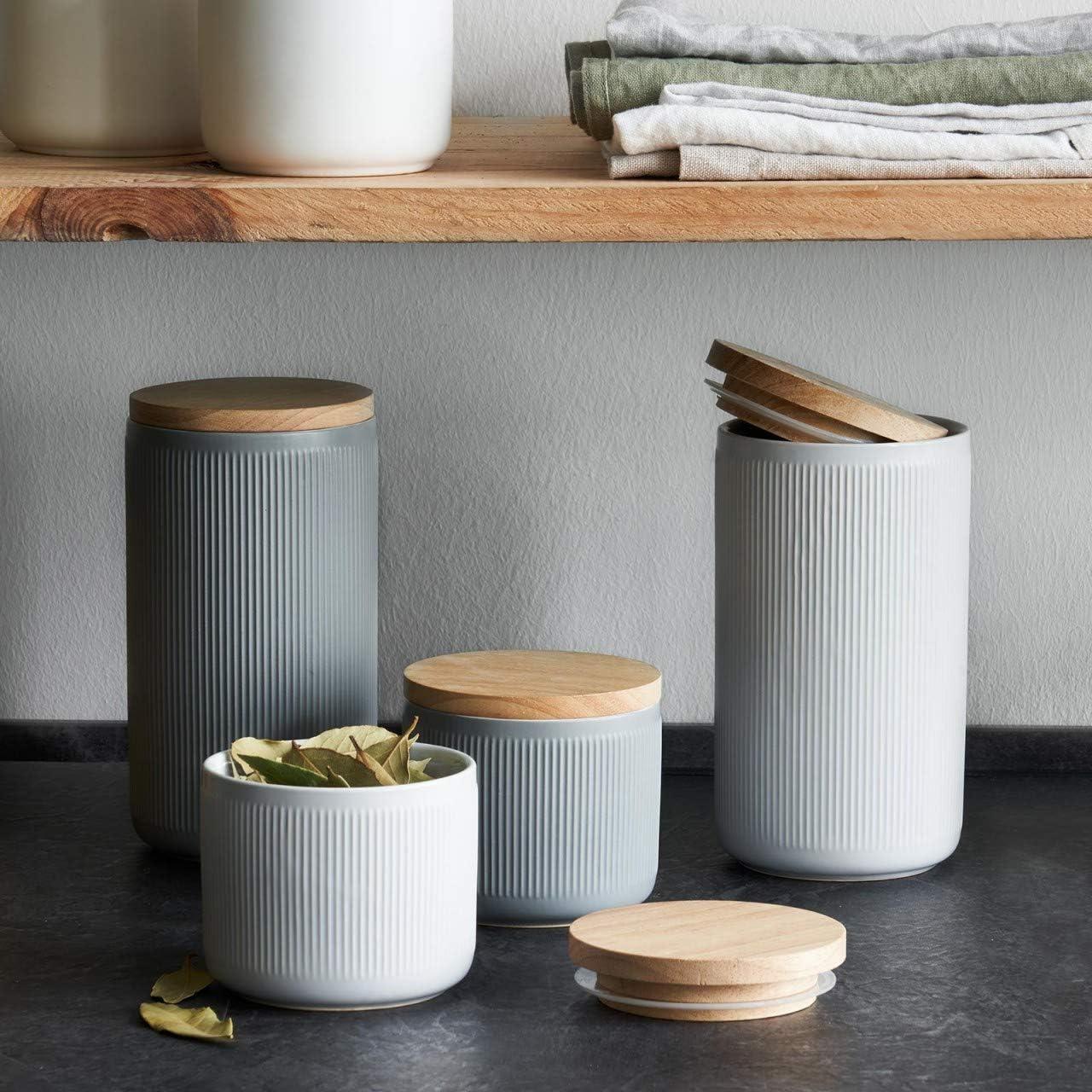 Aufbewahrungsdosen Keramik Vorratsdosen mit Holzdeckel Grau Frischhaltedosen Luftdichter Kautschukholz-Deckel 10,1 x 18,3 cm hellgrau