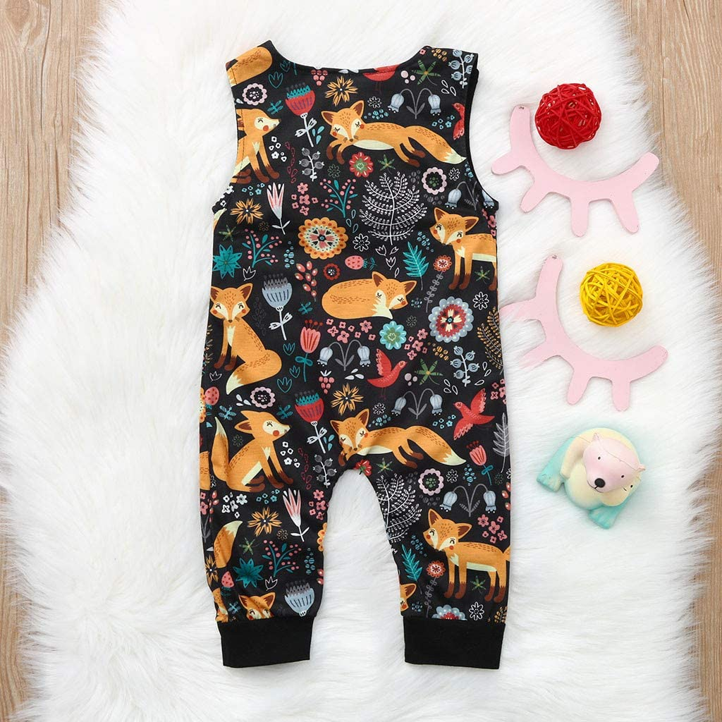Moonker Baby Infant Girls Summer Clothes Onesies Rompers 3-18 Months Sleeveless Cartoon Print Cute Jumpsuit Outfits