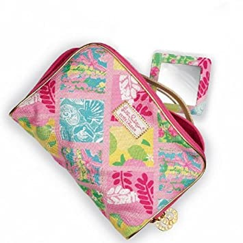 c7d91a07d2 Amazon.com   Lilly Pulitzer Cosmetic Bag in Lilly Patch with Matching  Mirror Estee Lauder Exclusive   Makeup Travel Cases And Holders   Beauty