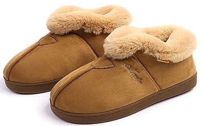 631f3d651ae89 HAOJIALI Men's and Women Bedroom Slippers Booties House Shoes Comfort Faux  Fur Lined Suede Memory Foam Slip On Indoor Outdoor Warm Garden Home