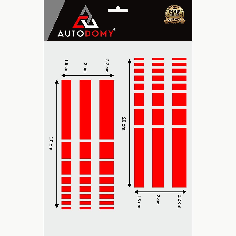 Orange Autodomy Autocollants R/étroviseur de Voiture avec Rayures Design Stripes Fl/èches Pack de 6 unit/és de largeurs diff/érentes pour Voiture