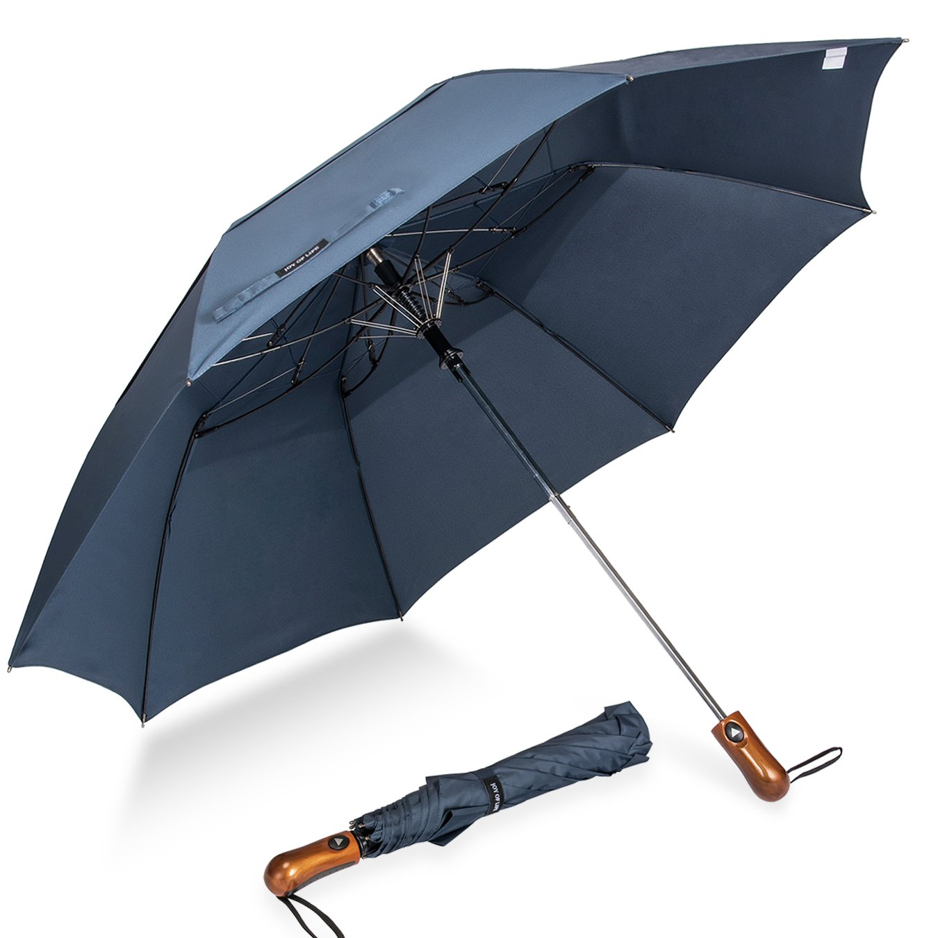 ZOMAKE Automatic Open Compact Umbrella for Women Men, Lightweight Windproof Umbrella, Double Canopy Parasol with UV Protection