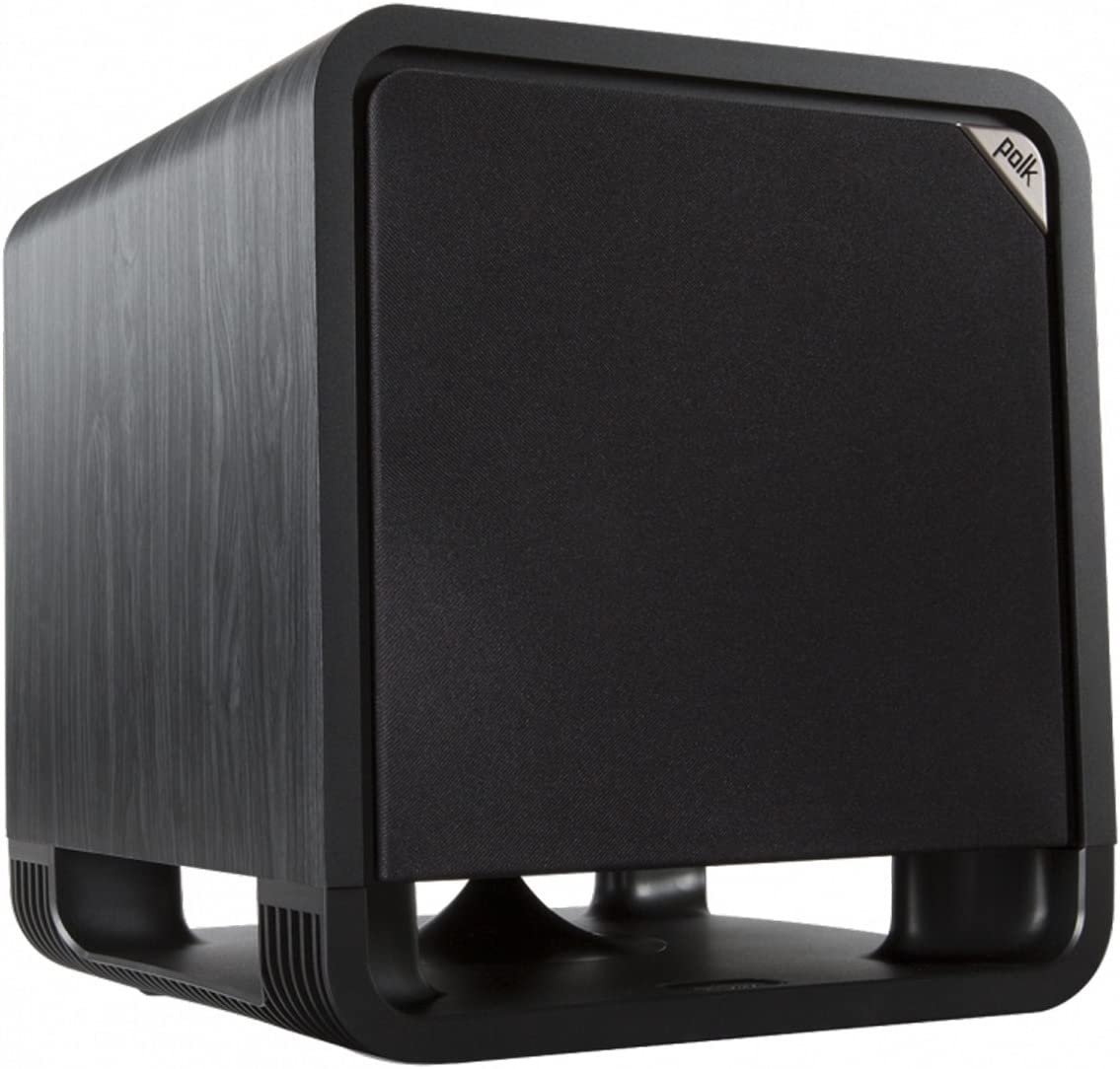 Polk Audio HTS 12 Powered Subwoofer with Power Port Technology 12 Woofer, up to 400W Amp For the Ultimate Home Theater Experience Modern Sub that Fits in any Setting Washed Black Walnut