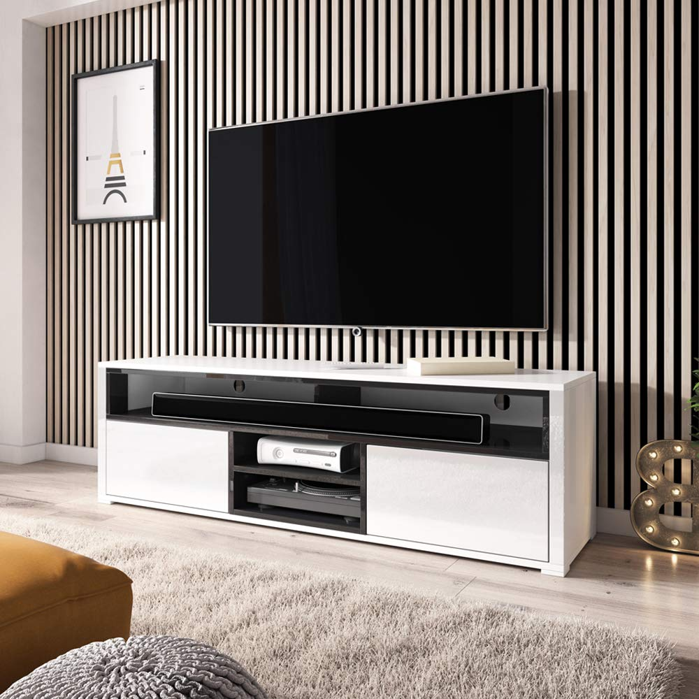TV Stand//Modern Entertainment Unit//Living Room TV Cabinet with Storage 137 cm, Wotan Oak with LED Lighting Selsey MARIO