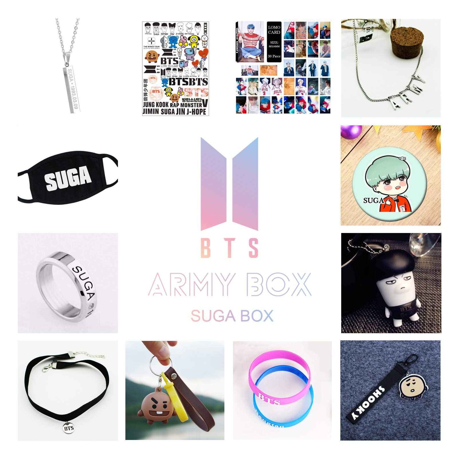 Kpop BTS Army Box Bangtan Boys BTS Album High Guality Gift Case for Jungkook Jimin V Bracelet Button Necklace (93 SUGA Box) by AIIVPO (Image #2)