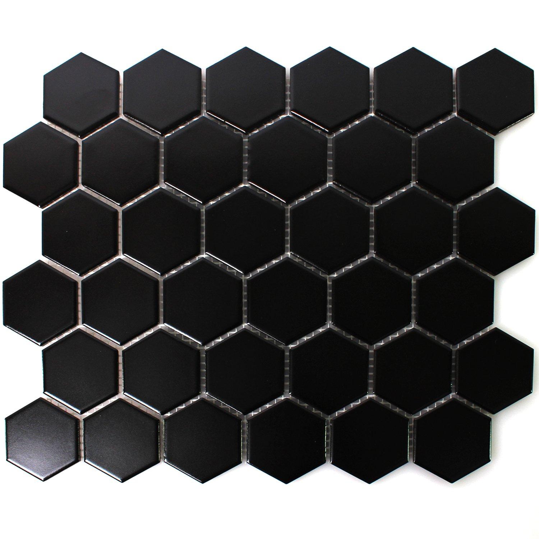 Mosaikfliesen Hexagon Keramik Mosaik Schwarz Matt Amazonde Baumarkt - Mosaik fliesen schwarz matt