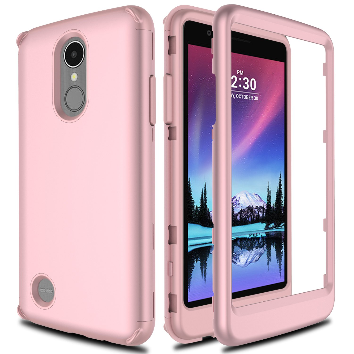 LG K20 Plus Case, LG K20 V Case, LG Grace LTE Case, LG Harmony Case AMENQ 3 in 1 Heavy Duty Absorb Impact Touch Silicone Rubber Smooth PC Protection Cover for LG K10 2017 (Matte Rose)