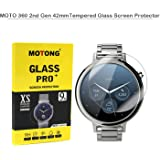 MOTONG 42mm Tempered Glass Screen Protectors For Motorola MOTO 360 2nd Gen, 9 H Hardness, 0.3mm Thickness,Made From Real Glass (42mm)