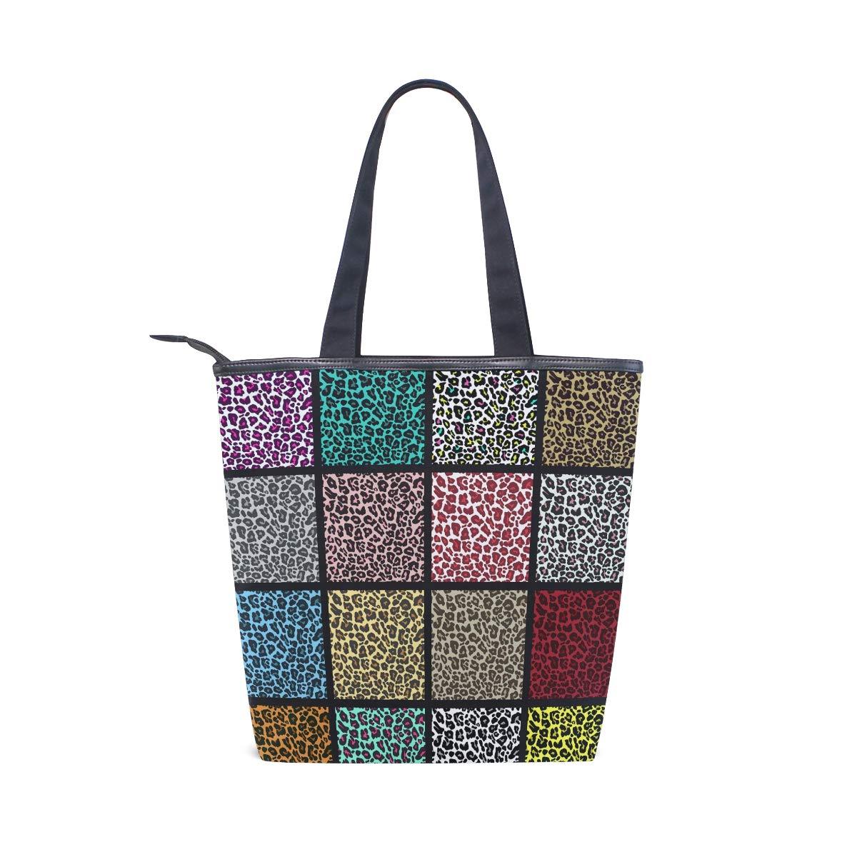 LORVIES Juego de patrones de leopardo bolsa de lona con cremallera ...