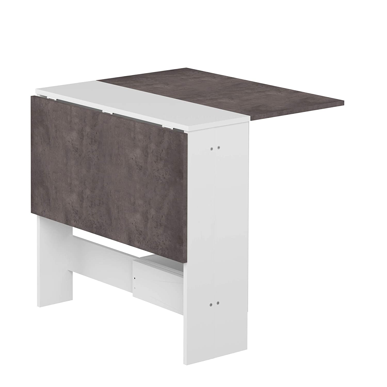 Modern Loft Mesa Plegable, Blanco y Gris, 103 x 76 x 73.4 cm
